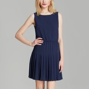 Alice&Olivia Navy Drop Waist Pleat Dress